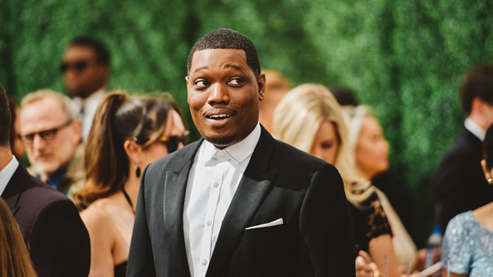 LOS ANGELES, CA - SEPTEMBER 17: (EDITORS NOTE: Image has been digitally enhanced) Michael Che arrives at the 70th Emmy Awards on September 17, 2018 in Los Angeles, California.
