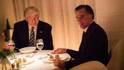 NEW YORK, NY - NOVEMBER 29: (L to R) President-elect Donald Trump and Mitt Romney dine at Jean Georges restaurant, November 29, 2016 in New York City. President-elect Donald Trump and his transition team are in the process of filling cabinet and other high level positions for the new administration.