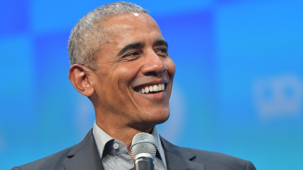 """MUNICH, GERMANY - SEPTEMBER 29: Former U.S. President Barack Obama speaks at the opening of the Bits & Pretzels meetup on September 29, 2019 in Munich, Germany. The annual event brings together founders and startups from across the globe for three days of networking, talks and inspiration. during the """"Bits & Pretzels Founders Festival"""" at ICM Munich on September 29, 2019 in Munich, Germany. Bits & Pretzels is an application-only, three-day festival that connects 5,000 founders, investors, startup enthusiasts,taking place from September 29 to October 1, 2019."""