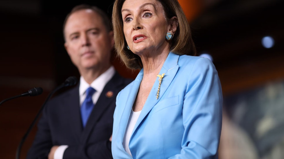 Speaker of the House Nancy Pelosi answers questions with House Select Committee on Intelligence Chairman Rep. Adam Shiff