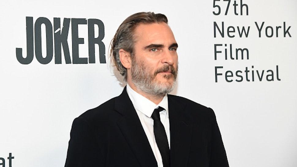 """NEW YORK, NEW YORK - OCTOBER 02: Joaquin Phoenix attends the 57th New York Film Festival - """"Joker"""" during the 57th New York Film Festival at Alice Tully Hall, Lincoln Center on October 02, 2019 in New York City."""