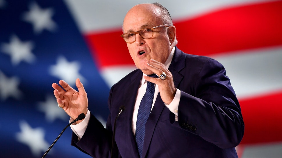 Former Mayor of New York Rudolph Giuliani speaks during the Conference In Support Of Freedom and Democracy In Iran on June 30, 2018 in Paris, France. The speakers declared their support for the Iranian peoples uprising and the democratic alternative, the National Council of Resistance of Iran and called on the international community to adopt a firm policy against the mullahs regime and stand by the arisen people of Iran.