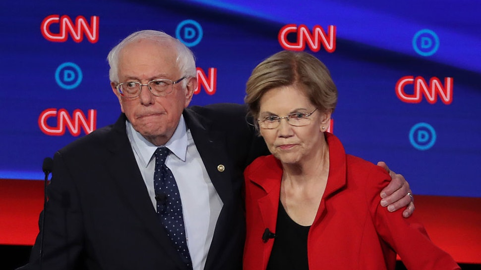 Sen. Bernie Sanders and Sen. Elizabeth Warren embrace after the Democratic Presidential Debate