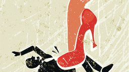 Girl Power! A stylized vector cartoon of a beautiful woman's leg crushing a man under her very high red heels,reminiscent of an old screen print poster and suggesting battle of the sexes, relationship issues, seduction, and putting your foot down.
