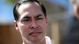 Democratic presidential candidate, former U.S. Housing Secretary Julian Castro looks on as he tours a homeless encampment on September 25, 2019 in Oakland, California.