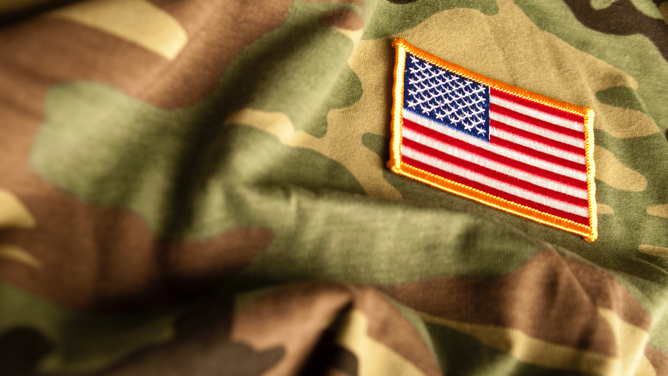 American Flag and Camoflage (Military Series) - stock photo