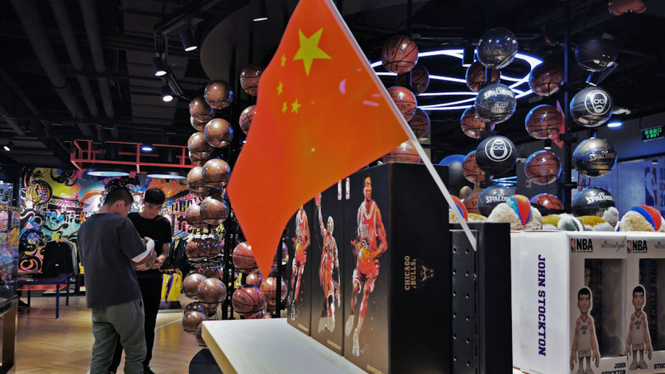 A Chinese flag is seen placed on merchandise in the NBA flagship retail store on October 9, 2019 in Beijing, China.