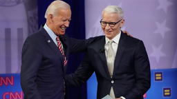 Democratic presidential candidate, former Vice President Joe Biden (L) embraces CNN moderator Anderson Cooper at the Human Rights Campaign Foundation and CNN presidential town hall, focused on LGBTQ issues, on October 10, 2019 in Los Angeles, California.