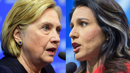 "Hilary Clinton, former US Secretary of State speaks during the Ambrosetti International Economic Forum 2019 ""Lo scenario dell'Economia e della Finanza"" on September 7, 2019 in Cernobbio, Italy.//Democratic presidential candidate Rep. Tulsi Gabbard (D-HI) speaks during the New Hampshire Democratic Party Convention at the SNHU Arena on September 7, 2019 in Manchester, New Hampshire."