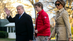 U.S. President Donald Trump, first lady Melania Trump, and their son Barron Trump, arrive on the South Lawn of the White House, on March 10, 2019 in Washington, DC. Trump spent the weekend at his Mar-a-Lago club in Palm Bech, Fla.
