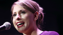 Democratic Congressional candidate Katie Hill speaks to supporters at her election night party in California's 25th Congressional district on November 6, 2018 in Santa Clarita, California.
