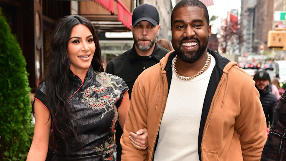 Kim Kardashian West and Kanye West walk along 57th Street on October 25, 2019 in New York City.