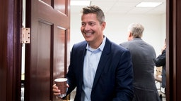 Sean Duffy leaves the House Republican Conference meeting in the Capitol