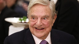 George Soros, billionaire and founder of Soros Fund Management LLC, smiles before speaking at an event on day three of the World Economic Forum (WEF) in Davos, Switzerland, on Thursday, Jan. 24, 2019. World leaders, influential executives, bankers and policy makers attend the 49th annual meeting of the World Economic Forum in Davos from Jan. 22 - 25.