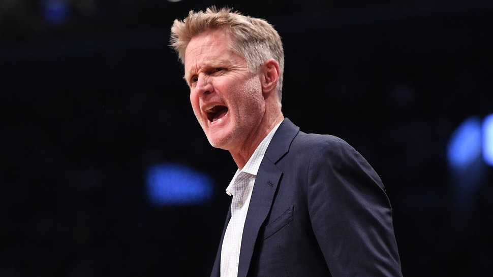 Head Coach Steve Kerr of the Golden State Warriors reacts during the game against the Brooklyn Nets at Barclays Center on October 28, 2018 in the Brooklyn borough of New York City.