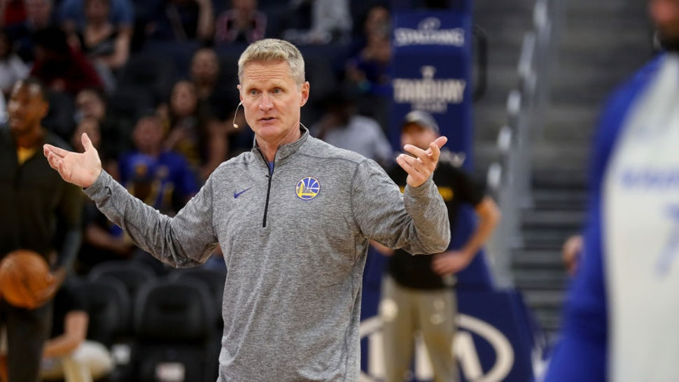 Golden State Warriors head coach Steve Kerr gestures during an open practice at the Chase Center in San Francisco, Calif., on Monday, Oct. 7, 2019. (Photo by Jane Tyska/MediaNews Group/The Mercury News via Getty Images)