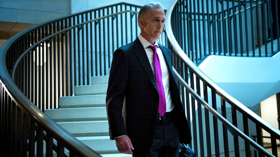 Rep. Trey Gowdy (R-SC) arrives for a closed session with Donald Trump Jr. before the House Intelligence Committee on Capitol Hill December 6, 2017 in Washington, DC.