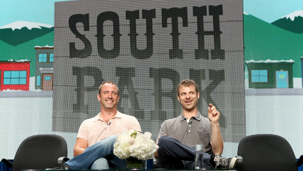 Writer/creators Trey Parker (L) and Matt Stone speak onstage during the 'South Park' panel at Hulu's TCA Presentation at The Beverly Hilton Hotel on July 12, 2014 in Beverly Hills, California.