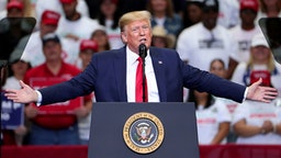 "DALLAS, TEXAS - OCTOBER 17: U.S. President Donald Trump speaks during a ""Keep America Great"" Campaign Rally at American Airlines Center on October 17, 2019 in Dallas, Texas."
