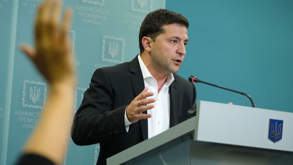 Ukrainian President Volodymyr Zelensky speaks to the media on October 1, 2019 in Kiev, Ukraine. Ukraine has been at the core of a political storm in U.S. politics since the release of a whistleblower's complaint suggesting U.S. President Donald Trump, at the expense of U.S. foreign policy, pressured Ukraine to investigate Trump's rival, Joe Biden, and Biden's son, Hunter. (Photo by Sean Gallup/Getty Images)