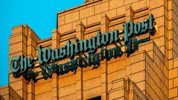 A view of the logo on the new home of The Washington Post, on December, 16, 2015 in Washington, DC. (Photo by Bill O'Leary/The Washington Post)