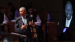 Former President Barack Obama delivers remarks during the funeral service for Rep. Elijah Cummings (D-MD) at New Psalmist Baptist Church on October 25, 2019 in Baltimore, Maryland. A sharecropper's son who rose to become a civil rights champion and the chairman of the powerful House Oversight and Government Reform Committee, Cummings died last week of complications from longstanding health problems.