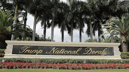 A sign is seen near the front entrance to the Trump National Doral golf resort owned by U.S. President Donald Trump's company on October 17, 2019 in Doral, Florida. White House chief of staff Mick Mulvaney announced today that the resort will host the Group of Seven meeting, between the United States, UK, France, Germany, Canada, Japan, Italy, and the EU, and will take place in June of 2020. (Photo by Joe Raedle/Getty Images)