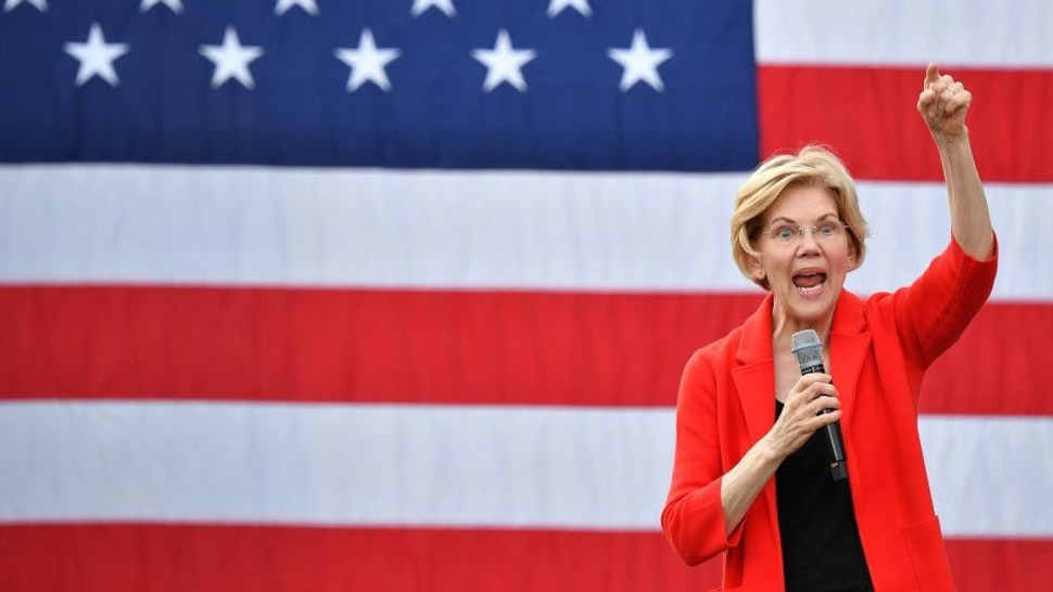 TOPSHOT - Democratic presidential candidate Elizabeth Warren gestures as she speaks during a campaign stop at George Mason University in Fairfax, Virginia on May 16, 2019.