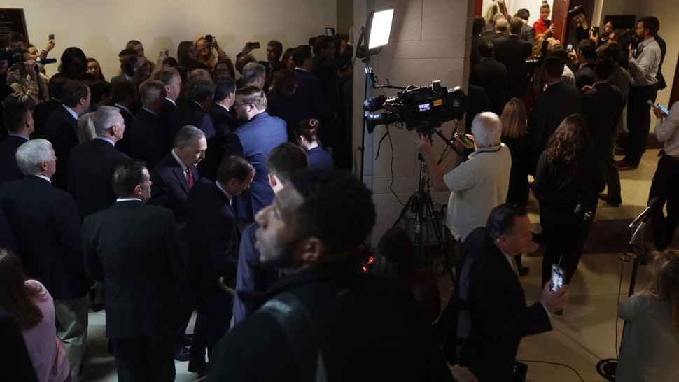 """About two dozen House Republicans enter a sensitive compartmented information facility (SCIF) where a closed session before the House Intelligence, Foreign Affairs and Oversight committees takes place at the U.S. Capitol October 23, 2019 in Washington, DC. Rep. Gaetz held the press conference prior to the walk-in to call for """"transparency in impeachment inquiry."""" (Photo by Alex Wong/Getty Images)"""
