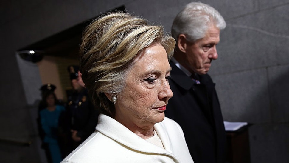 Former Democratic presidential nominee Hillary Clinton (L) and former President Bill Clinton arrive on the West Front of the U.S. Capitol on January 20, 2017 in Washington, DC. In today's inauguration ceremony Donald J. Trump becomes the 45th president of the United States.
