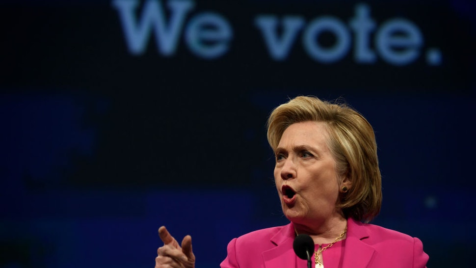 PITTSBURGH - JULY 13: Former Secretary of State Hillary Clinton speaks to the audience at the annual convention of the American Federation of Teachers Friday, July 13, 2018 at the David L. Lawrence Convention Center in Pittsburgh, Pennsylvania