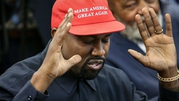 Rapper Kanye West speaks during a meeting with U.S. President Donald Trump in the Oval office of the White House on October 11, 2018 in Washington, DC. (Photo by Oliver Contreras - Pool/Getty Images)