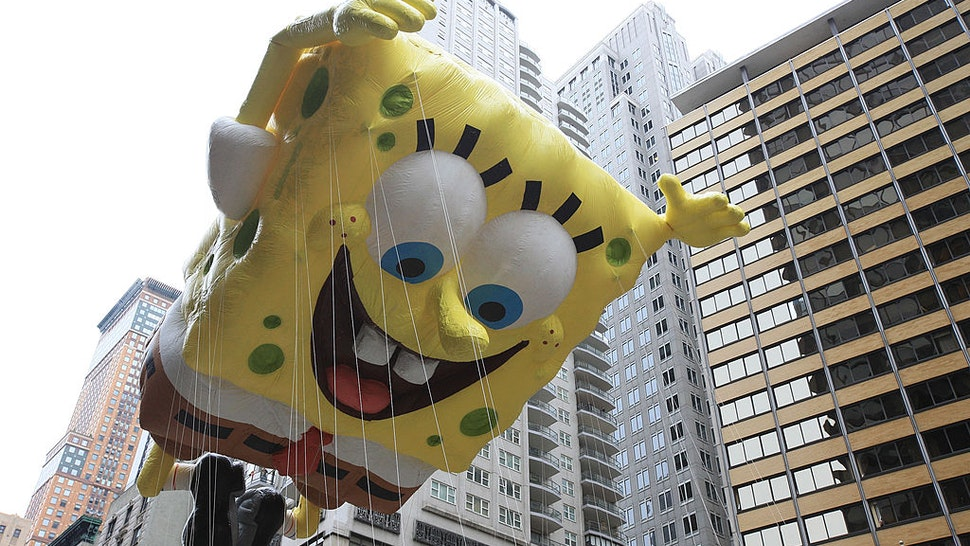 Nickelodeon's Spongebob Squarepants floats down Broadway for the 84th annual Macy's Thanksgiving Day Parade on November 25, 2010 in New York City