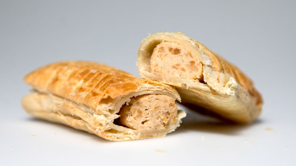 A vegan sausage rolls from a Greggs Plc sandwich chain outlet sits on display in this arranged photograph in London, U.K.