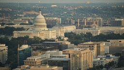 Aerial of the United States Capitol and the Federal Triangle.