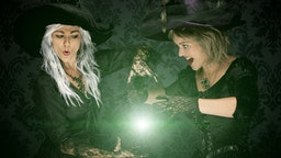 Halloween Witches Conjuring A Spell - stock photo