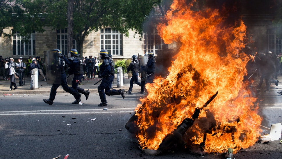 Police forces are charging demonstrators during the inter-union demonstration on May 1 in Paris, which also includes yellow vests, in Paris, France, on May 1, 2019.
