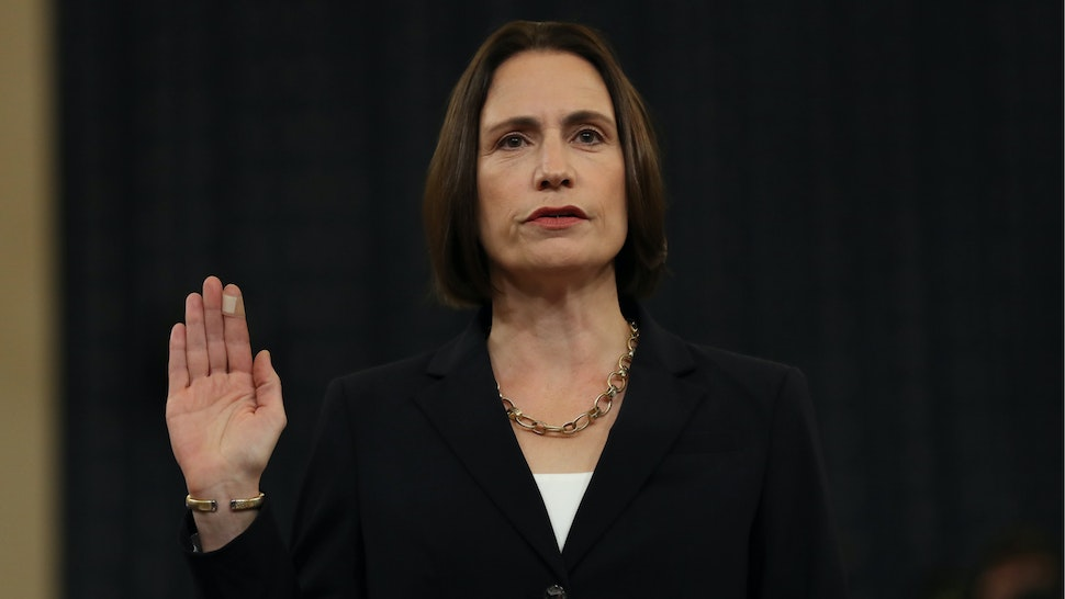 Fiona Hill, the National Security Council's former senior director for Europe and Russia, is sworn in to testify before the House Intelligence Committee in the Longworth House Office Building on Capitol Hill November 21, 2019 in Washington, DC.