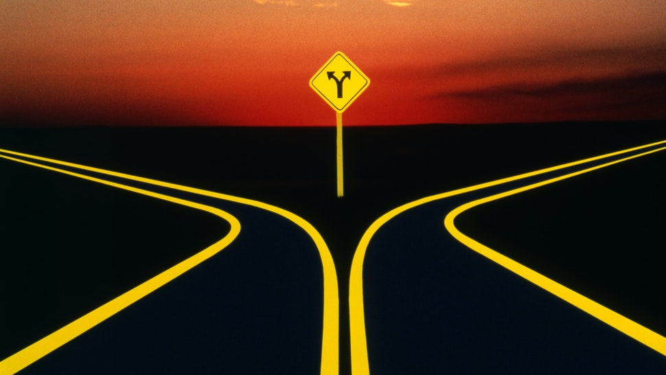 1980s 1990s FORK IN THE ROAD CONCEPT WITH HIGHWAY SIGN.