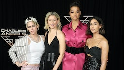"""Kristen Stewart, Elizabeth Banks, Ella Balinska, and Naomi Scott attend a photocall for """"Charlie's Angels"""" at the Whitby Hotel on November 07, 2019 in New York City."""