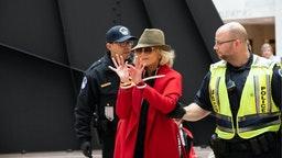 Actress Jane Fonda is arrested by U.S. Capitol Police officers during a ''Fire Drill Fridays'' climate change protest inside the Hart Senate Office Building on Capitol Hill in Washington, D.C., November 1, 2019.