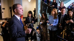 U.S. House Intelligence Committee Chairman Rep. Adam Schiff (D-CA) speaks to reporters following a closed-door hearing with the House Intelligence, Foreign Affairs and Oversight committees at the U.S. Capitol on November 4, 2019 in Washington, DC. On Monday, House investigators released the first transcripts from closed-door depositions in the impeachment inquiry. Four White House officials scheduled for depositions in the impeachment inquiry on Monday have signaled that they will not show up. (Photo by Drew Angerer/Getty Images)