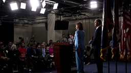 U.S. House Speaker Nancy Pelosi, a Democrat from California, center, speaks as Representative Adam Schiff, a Democrat from California and chairman of the House Intelligence Committee, center right., listens during a news conference on Capitol Hill in Washington, D.C., U.S., on Wednesday, Oct. 2, 2019. Three House committee chairmen threatened on Wednesday to subpoena the White House if it fails to adhere by Friday to document requests related to allegations that President Donald Trump pressured Ukraine into investigating one of his leading political rivals.