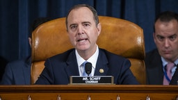 WASHINGTON, DC - NOVEMBER 13: Democratic Chairman of the House Permanent Select Committee on Intelligence Adam Schiff speaks to charge d'Affaires at the US embassy in Ukraine Bill Taylor and Deputy Assistant Secretary of State for Europe and Eurasia George Kent during the House Permanent Select Committee on Intelligence hearing on the impeachment inquiry into US President Donald J. Trump, on Capitol Hill November 13, 2019 in Washington, DC. In the first public impeachment hearings in more than two decades, House Democrats are trying to build a case that President Donald Trump committed extortion, bribery or coercion by trying to enlist Ukraine to investigate his political rival in exchange for military aide and a White House meeting that Ukraine President Volodymyr Zelensky sought with Trump.
