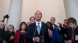 Representative Adam Schiff, a Democrat from California and chairman of the House Intelligence Committee, answers questions from members of the media after a House Intelligence Committee impeachment inquiry hearing in Washington, D.C., U.S., on Wednesday, Nov. 13, 2019. In the first public impeachment hearings in more than two decades, House Democrats are trying to build a case that President Donald Trump committed extortion, bribery or coercion by trying to enlist Ukraine to investigate his political rival in exchange for military aide and a White House meeting that Ukraine President Volodymyr Zelensky sought with Trump. (Photo by Sarah Silbiger/Getty Images)