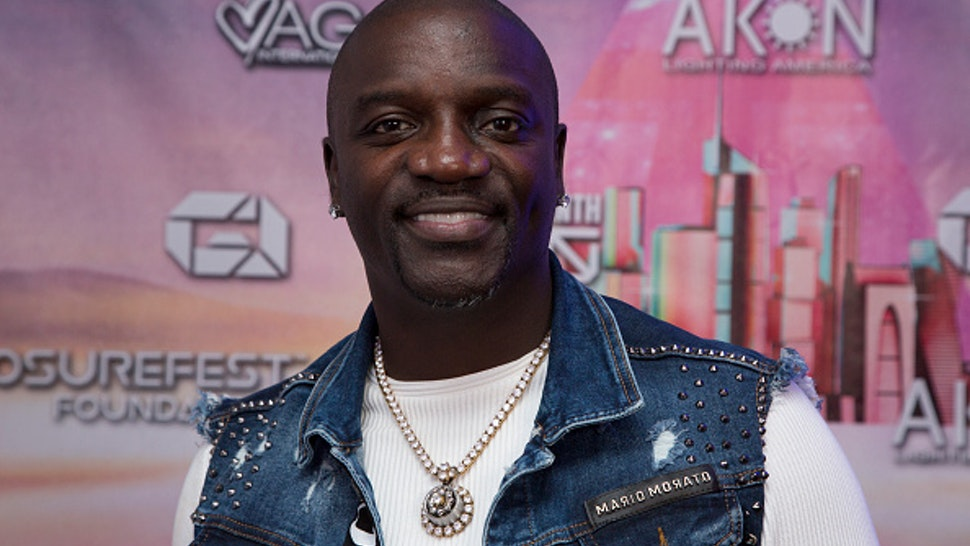 LOS ANGELES, CALIFORNIA - NOVEMBER 15: Akon attends the Akon Lighting LA - Disclosure Festival at 3BLACKDOT on November 15, 2019 in Los Angeles, California.