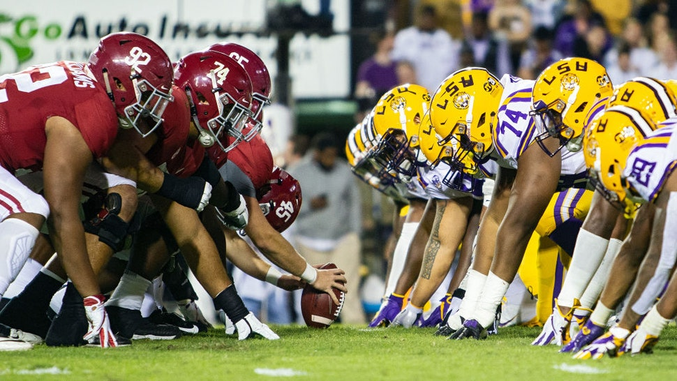 The LSU Tigers defense lines up fro a play during a game between the LSU Tigers and Alabama Crimson Tide on November 3, 2018 at Tiger Stadium, in Baton Rouge, Louisiana. (Photo by John Korduner/Icon Sportswire via Getty Images)