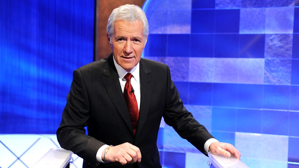 "CULVER CITY, CA - APRIL 17: Game show host Alex Trebek poses on the set of the ""Jeopardy!"" Million Dollar Celebrity Invitational Tournament Show Taping on April 17, 2010 in Culver City, California."