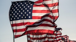 One main flag of the United States with many other flags, blowing in wind, with copy space