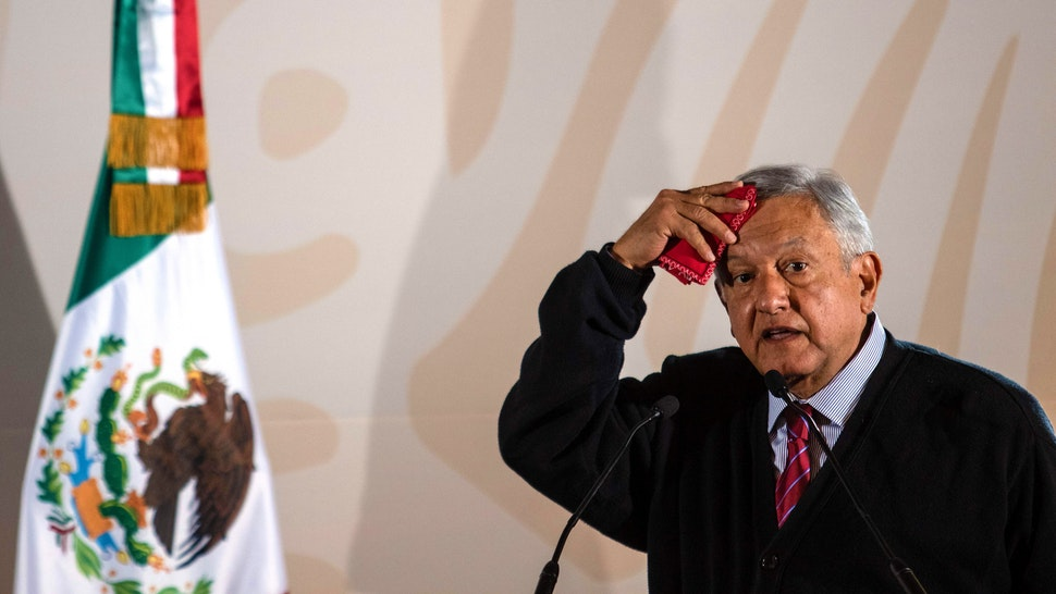 Mexico's President Andres Manuel Lopez Obrador presents the new economic programme for the northern border zone, in Tijuana, Baja California State, Mexico, on January 6, 2019.